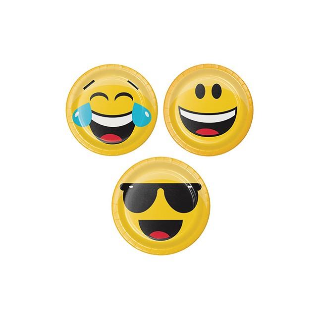 Piatto 18 cm Emoji, 3...
